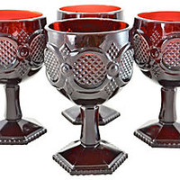 Ruby Glass Goblets, S/4