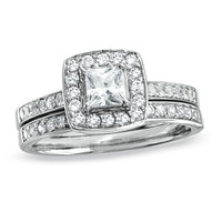 3/4 CT. T.W. Princess-Cut Diamond Framed Double Shank Bridal Set in 14K White Gold - View All Rings - Zales