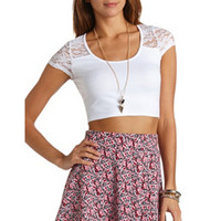 SHORT SLEEVE LACE CROP TOP