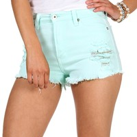 Promo-Mint Distressed Summer Shorts