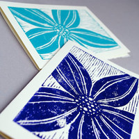 Two Lily Notecards Set Stargazer Lily Blank by CursiveArts
