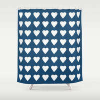 64 Hearts Navy Shower Curtain by Project M