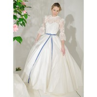 Taffeta and Lace Vintage 3/4 Sleeve Floor Length Wedding Dress