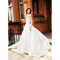 Taffeta Vintage Long Sleeve A-line Floor Length Wedding Dress