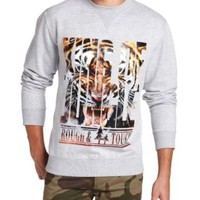 Southpole Men's Photo Real and Gold Foil Print Crew Neck Tiger Graphic Fleece