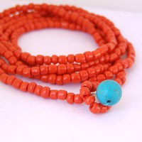 red necklace/ bracelet/ anklet by miShMeSH on Etsy