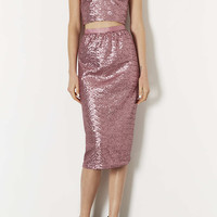 Pink Sequin Calf Skirt