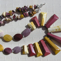 "Mookaite Jasper Gemstone Fan Statement Necklace - ""Desert Sands"" - Special Offer Price"
