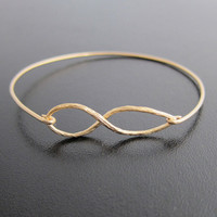 Infinity Bracelet Gold Infinity Bangle Bracelet by FrostedWillow