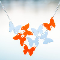SATU Butterfly necklace in White and Orange