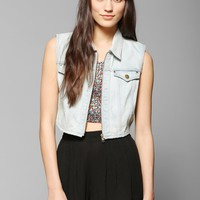 BDG Zip-Up Cropped Denim Vest - Urban Outfitters