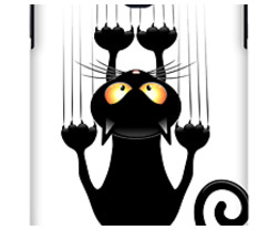 Black Cat Cartoon Scratching Wall
