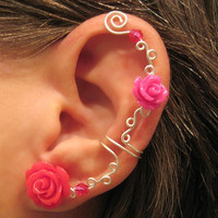 "Ear Cuff ""Roses are Hot Pink"" Non Pierced Cartilage Conch Cuff Wedding Prom Quinceanera"