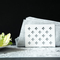 Napkin holder White crosses laser cut metal