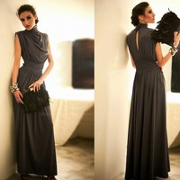 Long Chiffon Cap Sleeve Long Formal Prom Dresses Party Bridesmaid Evening Gowns