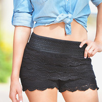 Sweet Escape Crochet Shorts - Black