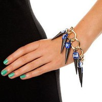 Gold Plated Iron Chain Bracelet with Blue Jewelled and Gunme