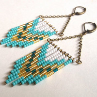 Turquoise and White Beaded Earrings by OliveTreeHandmade on Etsy