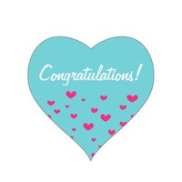 Congratulations - Pink Hearts Blue Stickers
