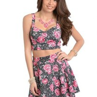 Rosette Crop Top and Skater Skirt Set