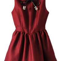 ROMWE Bowknot Pleated Zippered Red Bubble Dress