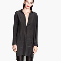 Long Silk Shirt - from H&M