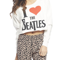I Love The Beatles Crop Sweatshirt | Wet Seal