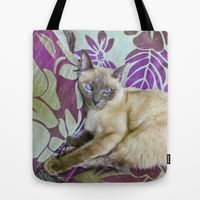 Beautiful Siamese Cat Watching the Camera Tote Bag by Danflcreativo