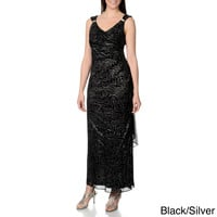 R & M Richards Women's Glitter Mesh Overlay Gown
