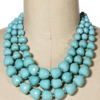 Mint Beaded 3 Row Necklace