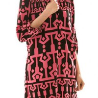 Pink Three-fourth Sleeve Print Dress