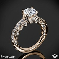 20k Rose Gold Verragio 4 Prong Channel Bead-Set Diamond Engagement Ring