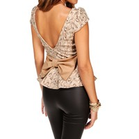 Taupe Sequin Peplum Top