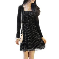 Allegra K Ladies Dots Elastic Top Semi Sheer Pullover Chiffon Dress Black XS