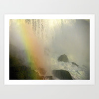 Waterfall and Rainbow  Art Print by Sari Klein