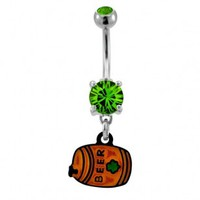 316L Surgical Steel Beer Barrel Dangle Navel Ring with Green CZ - 14G, 3/8'' Length - Sold as a Single Item