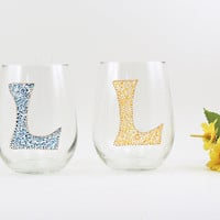 Monogrammed wine glass - Hand painted stemless white wine glasses - Set of 2