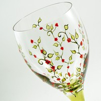 Hand painted glasses - Set of 2 blown crystal white wine glasses - Liane Collection