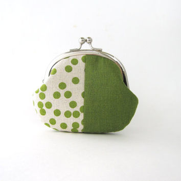 Frame Coin Purse - Green dots patchwork