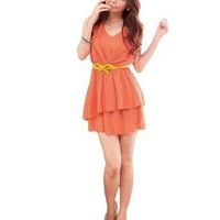 Allegra K S Orange Ruched V Neck Sleeveless Above Knee Dress for Ladies