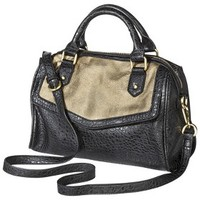 Merona® Zip Closure Satchel Hangbag - Black/Gold