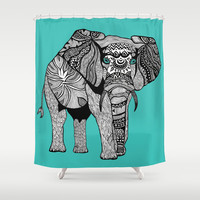 Tribal Elephant Black and White Version Shower Curtain by Pom Graphic Design