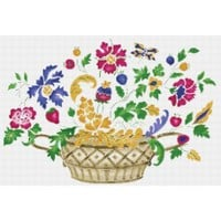 Dutch Basket of Flowers Counted Cross Stitch PDF Pattern - X-Stitch-Patterns