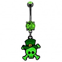 316L Surgical Steel Irish Styled Skull and Crossbones Dangle Navel Ring with Green CZ - 14G, 3/8'' Length - Sold as a Single Item