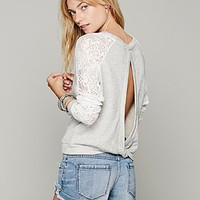 Free People Benedict Lace Crop Sweatshirt