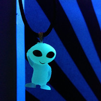 glow in the dark/ UV alien necklace