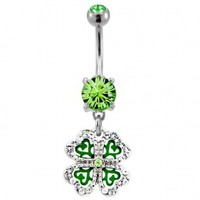 316L Surgical Steel Shamrock Dangle Navel Ring with Clear and Green CZ - 14G, 3/8'' Length - Sold as a Single Item