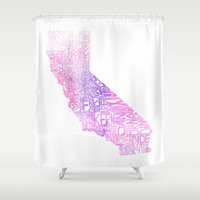 Typographic California - Pink Watercolor Shower Curtain by CAPow!