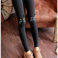Thick Kitten Ears Embellished Kitty Panel Leggings,black