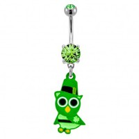 316L Surgical Steel Irish Styled Owl Dangle Navel Ring with Green CZ - 14G, 3/8'' Length - Sold as a Single Item